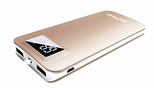 Uni-Yeap 11000mAh External Battery Charger Power Bank with Safety Charging Conversion System and Ultra Slim with Screen for iPhone Xs X 8 7 6s 6, iPad, Samsung Galaxy and All Smart Phone(Gold)