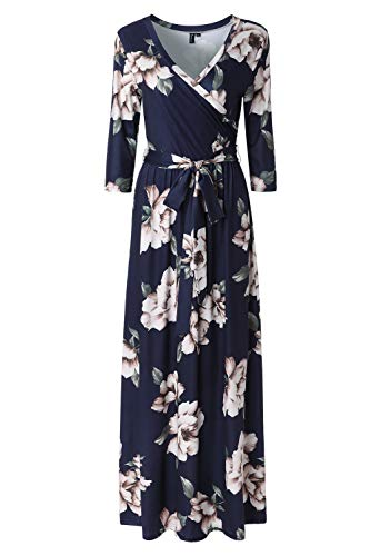 Zattcas Womens 3/4 Sleeve Floral Print Faux Wrap Long Maxi Dress with Belt,Navy Printed,Large