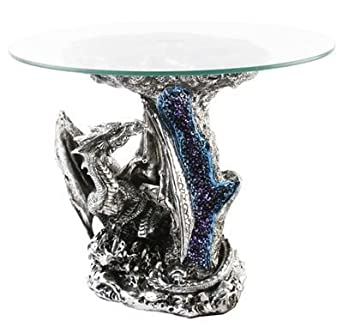 MYSTIC LEGENDS DRAGON FIGURINE GLASS COFFEE TABLE