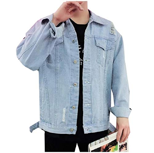 RkBaoye 1 Down Turn Button Collar Pocket Jacket Down Men Outwear Front Denim rUwgr