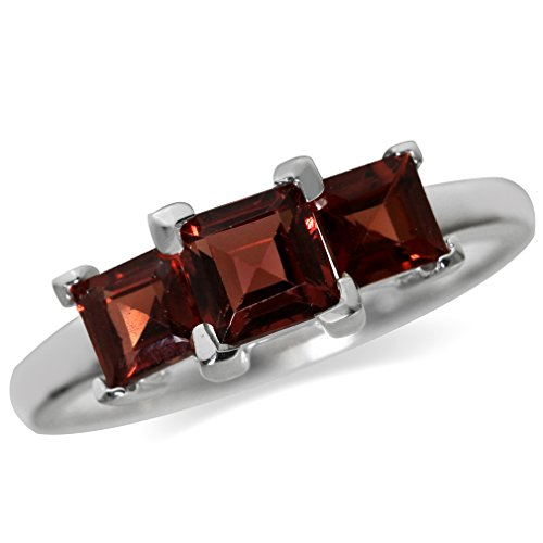 1.7ct. 3-Stone Natural Garnet 925 Sterling Silver Ring Size (Cut Garnet 3 Stone Ring)