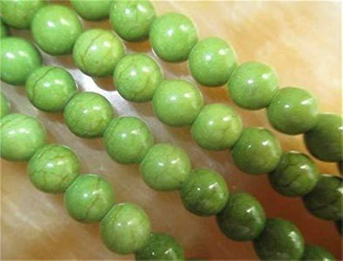 FidgetKute 8mm Green Abacus Turquoise Gemstone Loose Beads 15