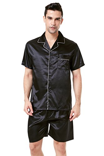 TONY AND CANDICE Men's Short Sleeve Satin Pajama Set with Shorts (Large, Black with White Piping) - New Mens Silk Satin Pajama