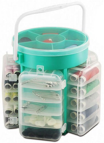 210 PC DELUXE SEWING KIT SET WITH STORAGE CADDY BOX THREAD NEEDLES PINS BUTTONS Saving World