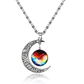 Galaxy & Crescent Cosmic Moon Pendant Necklace, Colorful Glass, 17.5'' Chain, Great Gift for Women