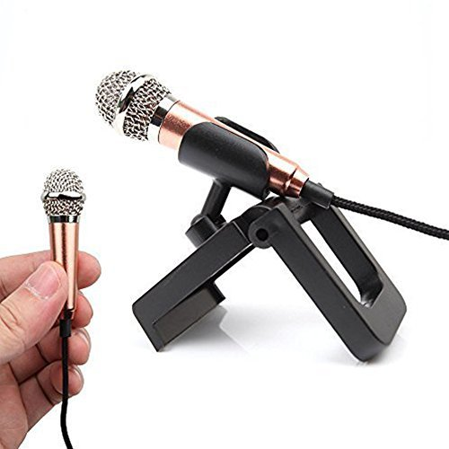 ElementDigital Professional Mini Microphone Station for PC Laptop Skype Recording Network Singing Musical Instruments Recording for Home Recording Voice with Desktop Stand USB cable (Golden)