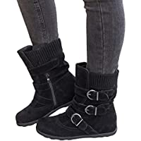 Women's Winter Snow Boots Zipper Buckles Strap Warm Ankle Mid Flat Boot