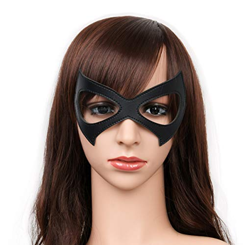 Luxury Black Red Leather Half Cat Eye Costume Mask Halloween Cosplay Fancy Dress Make Up Masquerade Party Props Accessory (Black A) -