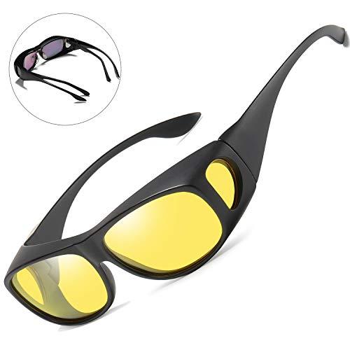 Night Driving Glasses Wrap Around Prescription Eyewear - night vision glasses fit over regular glasses women men (yellow Matte, - Around Eyewear Wrap