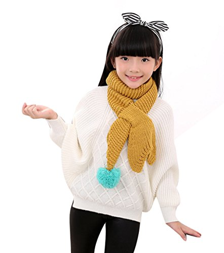 ACVIP Girl Cute Candy Colored Mermaid Tail Knitted Warm Scarf with Ball (Yellow) by ACVIP