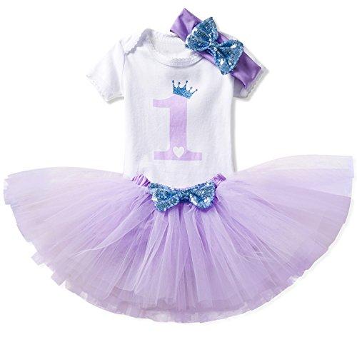 NNJXD Girl Shell Tutu 1st Birthday 3 Pcs Outfits Romper+Dress+ Black Headband Size (1) 1 Year Purple]()