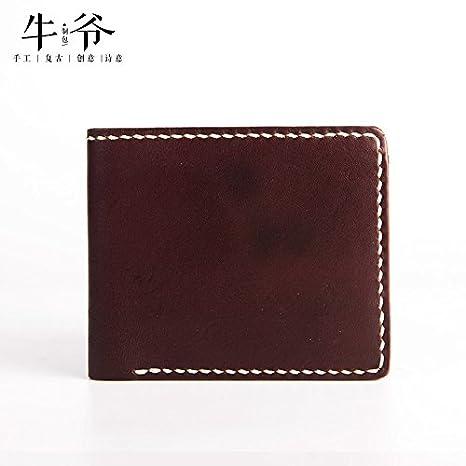Retro artesanal cartera de cuero capa corta, Mens Wallet horizontal,café profundo