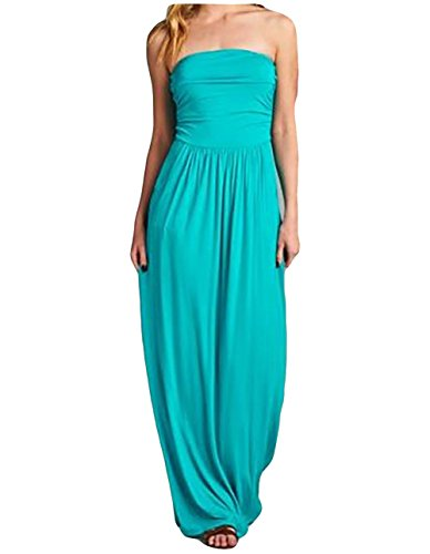 Poppy Smooches Strapless Empire Waist Maxi Dress with Pockets and Ruched Bodice
