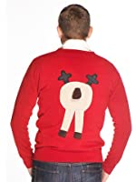 Woolly Babs Men's Christmas Jumper Front & Back Rudolph Reindeer V Neck Beige Face