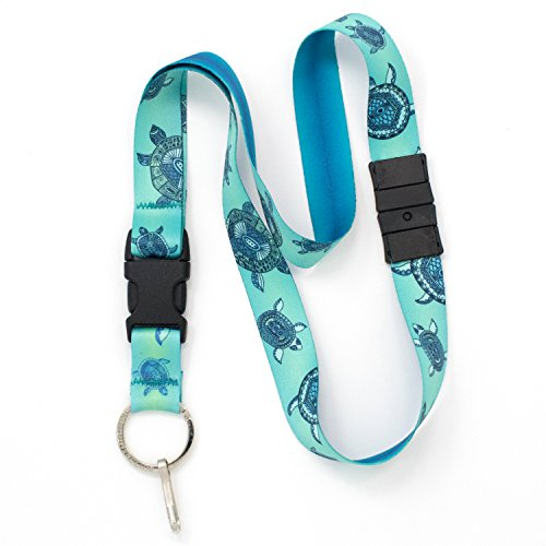 Buttonsmith Turtles Premium Breakaway Lanyard - Safety Breakaway, Buckle and Flat Ring - Made in USA