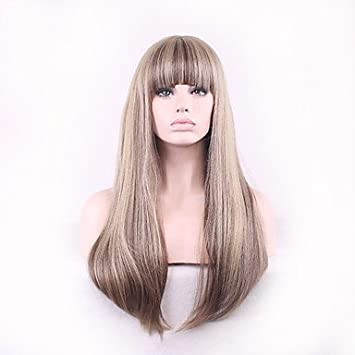 Y&M atractiva larga recta peluca rubia con flequillo calor peluca de pelo sintético resistente para Europa