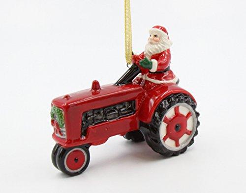 Fine Ceramic Hand Painted Christmas Santa Driving Farm Tractor Tree Ornament Figurine, 4