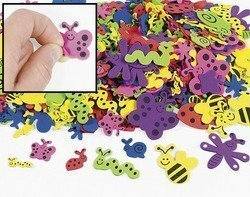 (Fun Express 500 Assorted Bug Shape Foam Self-Adhesive Craft Stickers )