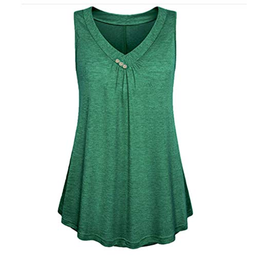 Amlaiworld Fashion Women Plus Size Tops Solid Botton Sleeveless V-Neck Tank Up Tops Casual Blouse Loose T Shirt Green