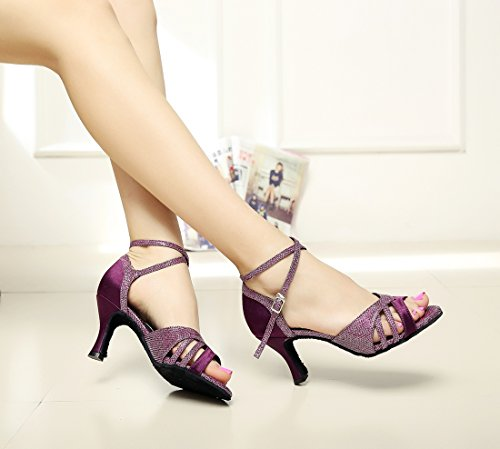 Minishion Mujeres Color Block Flared Heel Satin Salsa Zapatos De Baile Purple