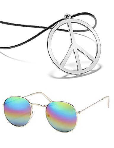 BOMAIL Hippie Dressing Accessory Set Hippie Glasses and Peace Sign Necklace ()
