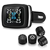 Beipuit Wireless Tire Pressure Monitoring System (TPMS), with 4 External Cap Sensors (Cigarette Lighter Plug with 5V/1.5A Charging)