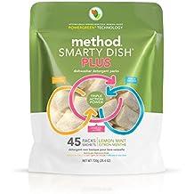 Method Smarty Dish Plus Dishwasher Detergent Packs, Lemon Mint, 45 Count