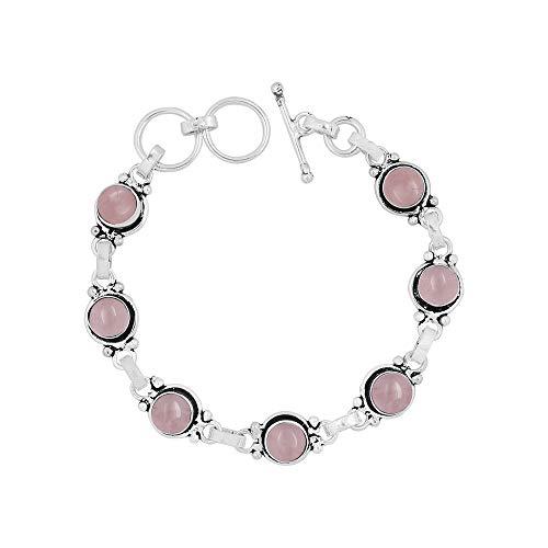 Natural 7mm Round Shape Rose Quartz Link Bracelet 925 Silver Overlay Handmade Jewelry for Women Girls