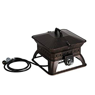 "BALI OUTDOORS Firepit Tailgate Gas Portable Fire Pit, Black - Tailgate gas portable fire pits, 18. 7"" L x 18. 7"" W x 14. 6"" Tall Lightweight and portable, the 50, 000 BTU fire bowl fire pit allows for an easy set up anywhere outdoors with no tools required. Features stainless steel burner, and Steel construction with high temperature powder coating and protective enamel finish for long lasting durability. - patio, outdoor-decor, fire-pits-outdoor-fireplaces - 4115BNHiSJL. SS400  -"