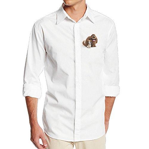 Boss-Seller Men's Unique The Secret Life Of Pets Long Sleeve Shirt Size L White
