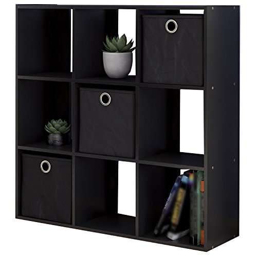 Cube Bookcase Storage Organizer Unit w/ 9 Cubby-Inspired Wooden Shelves & 3 Foldable Bin Drawers for Home Office Use & Decoration in Espresso Black Color