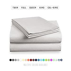 Luxe Bedding Sets - Microfiber Twin Sheet Set 3 Piece Bed Sheets, Deep Pocket Fitted Sheet, Flat Sheet, Pillow Case Twin Size - Silver Light Gray