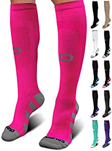 Crucial Compression Socks for Men & Women (20-30mmHg) - Best Graduated Stockings for Running, Athletic, Travel, Pregnancy, Maternity, Nurses, Medical, Shin Splints, Support, Circulation & Recovery, womens, Pink, S / M (Men's 5-9 / Women's 5.5-8.5)