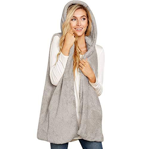 (LISTHA Faux Fur Solid Vest Women Hooded Waistcoat Jacket Sleeveless Warm Outwear)