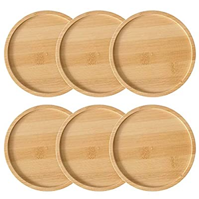 kathson Bamboo Plant Saucer Round Plant Drainage Tray Succulent Pot Base Planter Pallet (3 Inch) : Garden & Outdoor