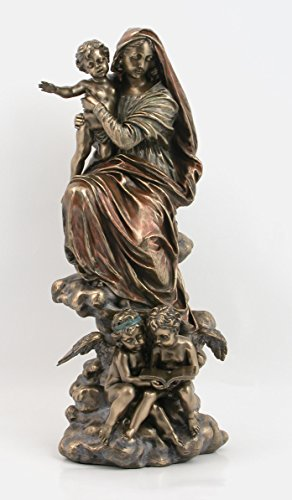 - 12.75 Inch Madonna of The Harpies with Angels Cold Cast Bronze Statue