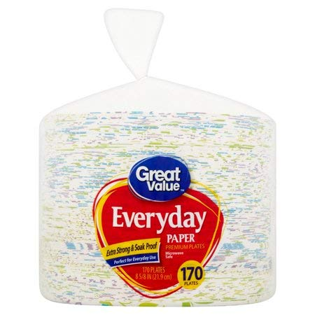 Everyday Premium Paper Plates, 8 5/8'', 170 Count,>Microwave Safe,Extra-Strong and Soak Proof,Comes with 170 Plates Pleasantly Decorated Plates,Pack of 4
