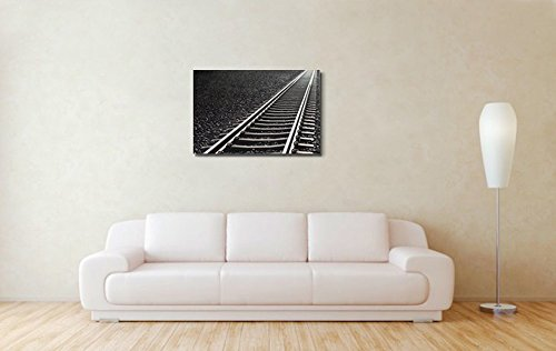 Close up of Railway Track on Black Gravel Home Deoration Wall Decor