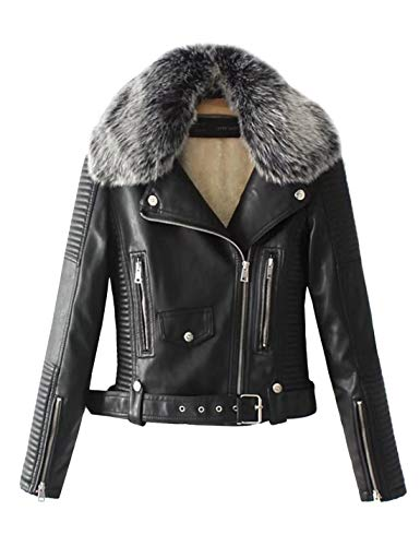 Lentta Women's Faux Fur Collar Pu Leather Fleece Lined Warm Quilted Moto Jacket (Small, Black) (Black Leather Jacket With White Fur Collar)