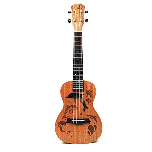 Professional Dolphin Pattern Soprano Ukulele Uke Hawaii Guitar Sapele 4 Strings Wood Ukulele Musical Instruments for Beginner ()