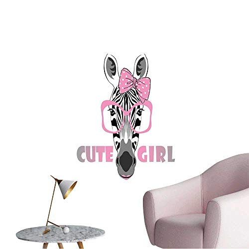Wall Stickers for Living Room Vector Animal Portrait,Zebra in Pink Glasses with Bow,Cute Girl Vinyl Wall Stickers Print,16