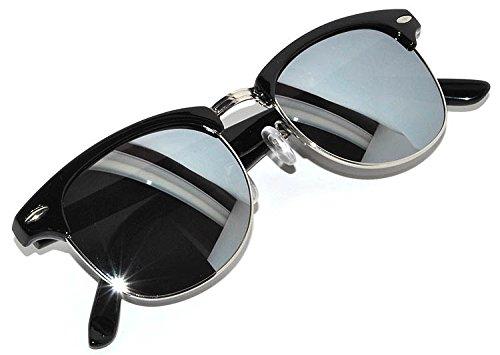 Half Frame Sunglasses Black Silver Metal Frame Silver Mirror - Sunglasses X Malcolm