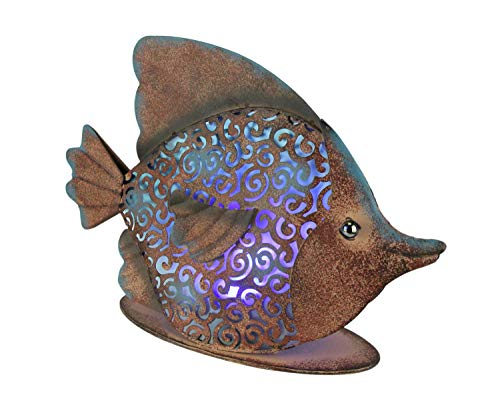 Gerson Rustic Copper Metal Filigree Fish LED Lighted Solar Statue