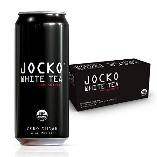 Jocko White Tea Organic ZERO SUGAR White Pomegranate Tea with Natural Energy, 16 Ounce Cans (Pack of 10) ()