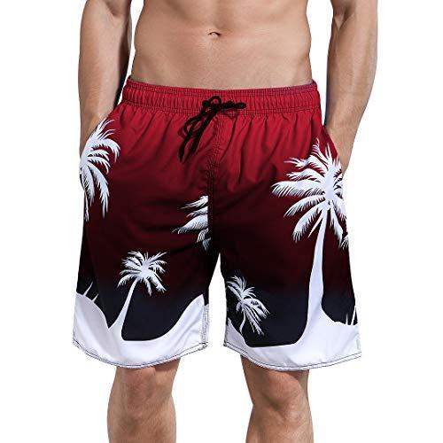Milankerr Men's Swim Trunks (Red Coconut Trees, Medium(34