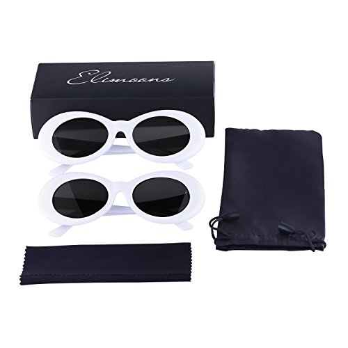 a3dd2dc958 Elimoons Clout Goggles Bold Retro Oval Mod Thick Frame Sunglasses Round  Lens 2 Pack