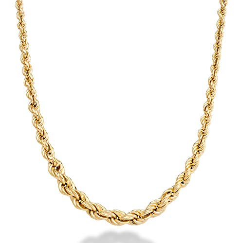 MiaBella 18K Gold Over 925 Sterling Silver Italian 3-6mm Graduated Twist Rope Chain Necklace for Women, 18 or 20 Inch (20)