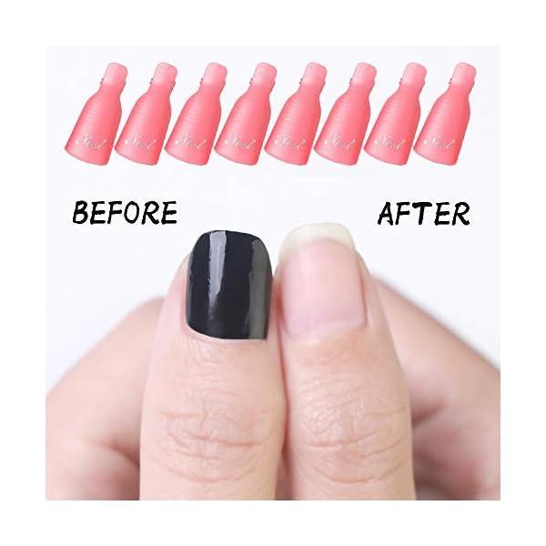 HiMo 10PC Plastic Acrylic Nail Art Soak Off Cap Clip UV Gel Polish Remover Wrap Tool (Pink)
