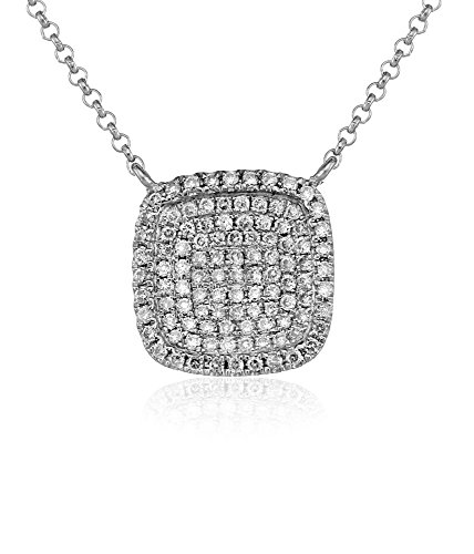 KC Designs Trinkets 14K White Gold Diamond Pave Cushion-Shape Pendant Necklace, 18