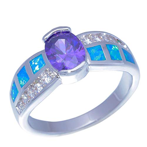 - MARRLY.H Created Blue Fire Opal Purple Stone Cubic Zirconia Silver Plated for Women Jewelry Ring Blue 8.5